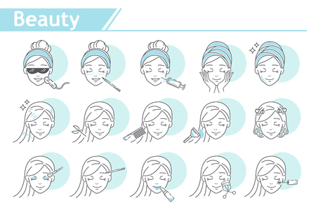 Beauty Make up Icon set -  Simple Line Series Stock Vector - 109391150