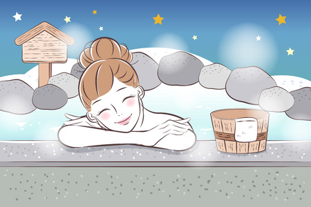 cartoon woman smile and enjoy with hot spring