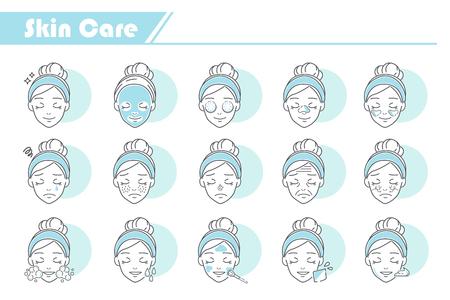 Beauty-Hautpflege-Icon-Set - Simple Line Series