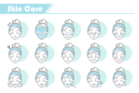 Beauty Skin Care Icon set - Simple Line Series