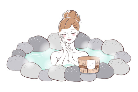 woman with hot spring and enjoy herself 矢量图像