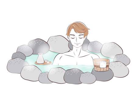 cartoon man smile and enjoy with hot spring 矢量图像