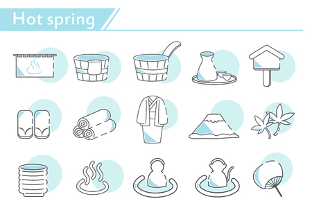 hot spring Icon set -  Simple Line Series