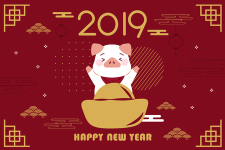 cerdo de dibujos animados lindo con año 2019 en el fondo rojo