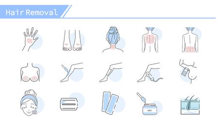 Hair removal concept Icon set - Simple Line Series Ilustração