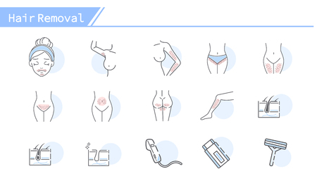 Hair removal concept Icon set - Simple Line Series Illusztráció