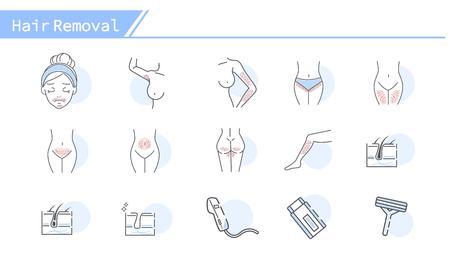 Jeu d'icônes de concept d'épilation - Série de lignes simples Vecteurs