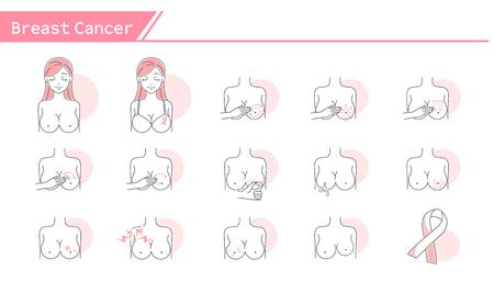 Conjunto de iconos de concepto de cáncer de mama - Serie de línea simple Ilustración de vector