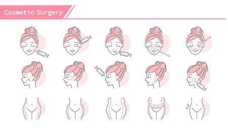 Face cosmetic surgery concept Icon set - Simple Line Series 版權商用圖片 - 110925602