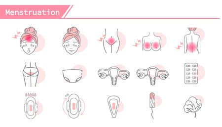Conjunto de iconos de síntomas de menstruación - Serie de línea simple