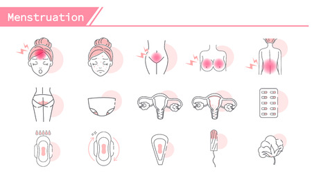 Menstruationssymptome Icon Set - Simple Line Series
