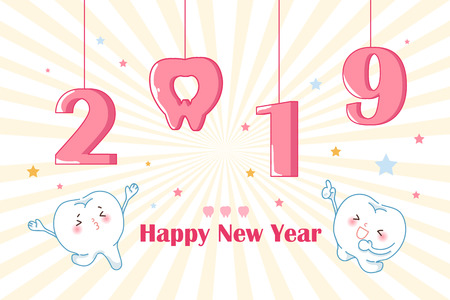 cartoon tooth with 2019 on the yellow background Vector Illustration