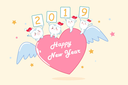 tooth with 2019 happy new year on the yellow background Ilustrace