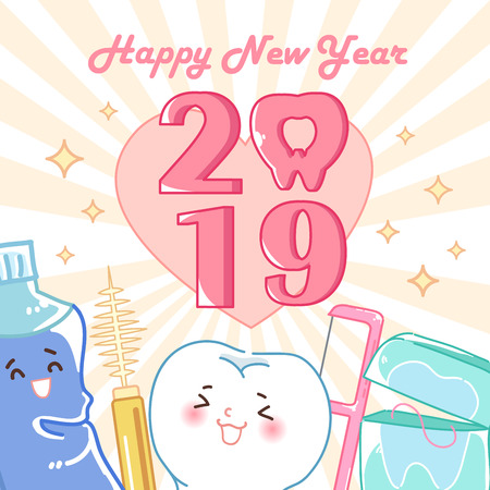 cartoon tooth hold 2019 on the yellow background Illustration