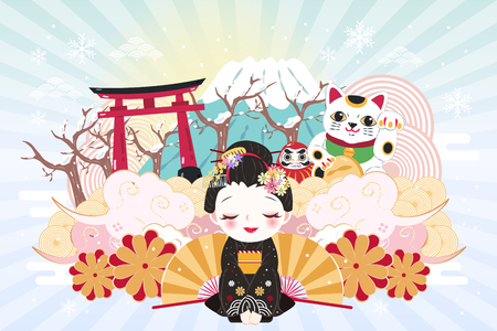 cute cartoon geisha with japan travel elements in winter