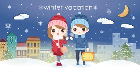 cartoon couple go travel in winter vacation at night Çizim