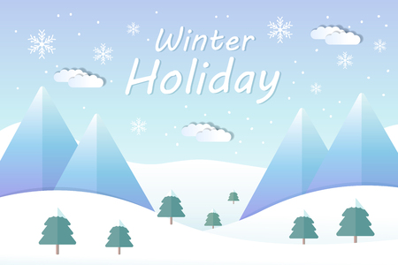 Winter holiday landscape and mountain ski resort in flat design