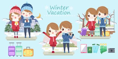 cartoon couple go travel in winter vacation Çizim
