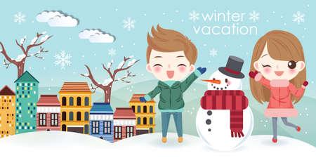 cartoon kids go travel with snowman in winter vacation Çizim