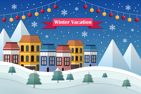 Winter vacation and mountain landscape in flat design