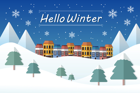 Hello Winter concept and mountain landscape in flat design