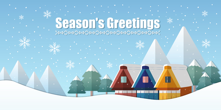 season greetings banner and winter holiday landscape in flat design
