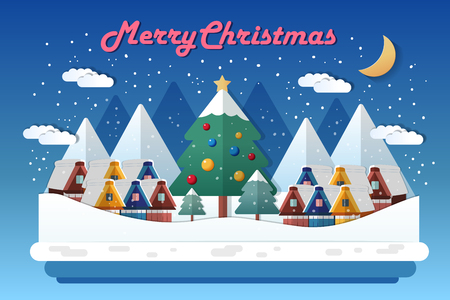 merry christmas eve and winter holiday landscape in flat design