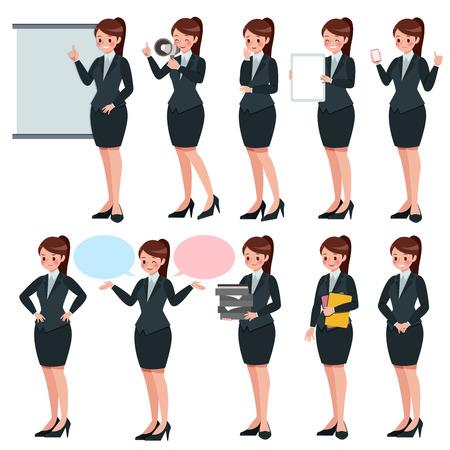 Cartoon business women show something in full length Vettoriali