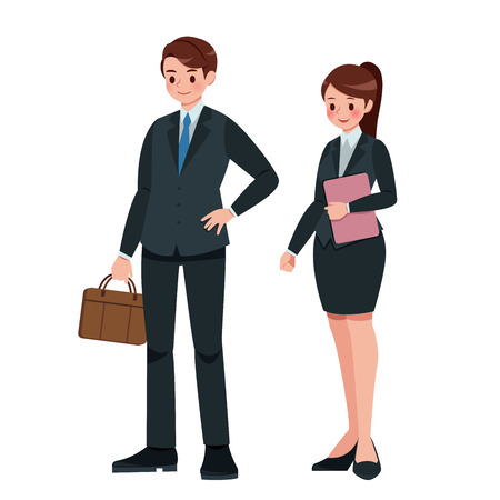 Cartoon business man and woman in full length