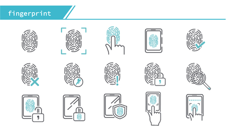 scan fingerprint biometric identity concept icon - Simple Line Series
