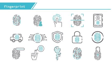scan fingerprint biometric identity concept icon - Simple Line Series