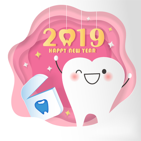 happy new year concept - cartoon tooth and dental floss with 2019