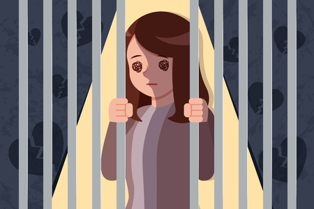 upset and depressed woman trapped in a prison