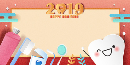 happy new year concept - cartoon tooth and toothpaste with 2019  イラスト・ベクター素材