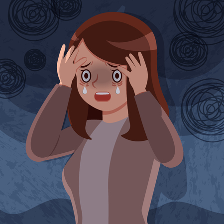 upset and depressed woman crying sadly concept
