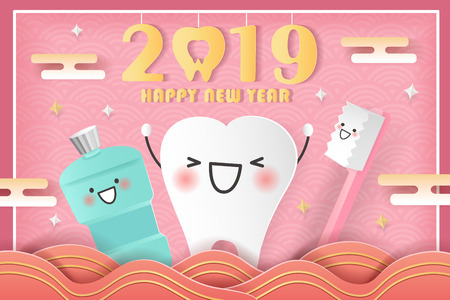 happy chinese new year concept - cartoon tooth and mouthwash with 2019