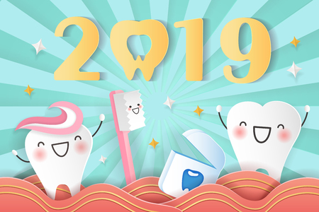 happy new year concept - cartoon tooth and brush with 2019
