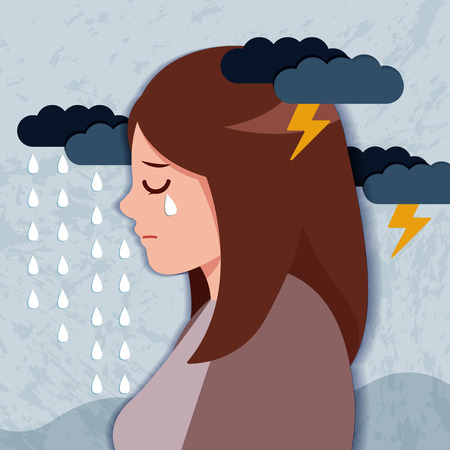 upset and depressed woman with falling rain and thunder Illustration