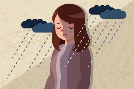 upset and depressed woman with falling rain
