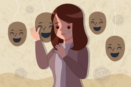 une femme bouleversée et déprimée porte un masque heureux Vecteurs