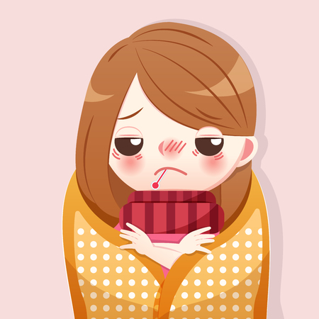 cartoon girl get a fever and feel Uncomfortable