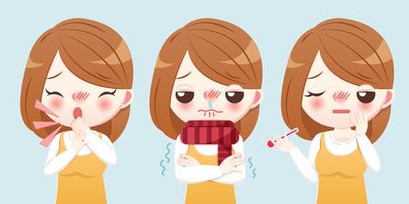 chica de dibujos animados siente frío y tiene fiebre