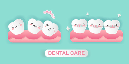cute cartoon tooth with brace correction concept