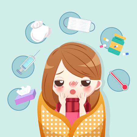 cartoon girl ill very sick and feel uncomfortable