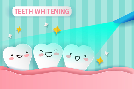 cute cartoon tooth smile and happy with whitening concept