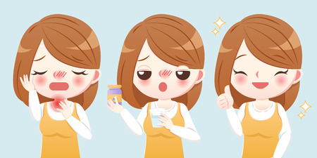 cartoon woman suffer a sore throat and feel better after eating medicine