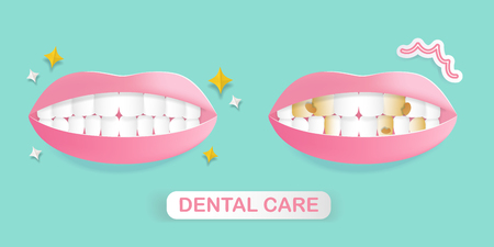 cute cartoon mouth with tooth decay problem on green background