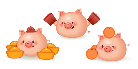 cute cartoon pig with gold ingot and red envelope Illustration