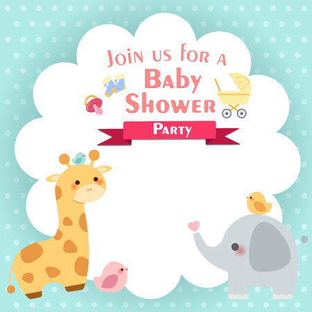 cute cartoon baby shower invitation card with animals on green background Vectores