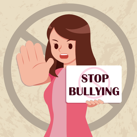 serious woman hold placard write stop bullying